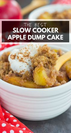 This Slow Cooker Apple Cinnamon Dump Cake is an easy and delicious dessert that captures the flavors of fall. With just six ingredients and hardly any prep time, you can dump everything into your slow cooker and let it work its magic! #cake #dumpcake #appledumpcake #slowcookercake #slowcookerdumpcake #slowcookerdesserts #fallcake #fallrecipe #falldessert #appledessert Crockpot Dessert Recipes, Crock Pot Desserts, Slow Cooker Desserts, Apple Recipes, Fall Recipes, Slow Cooker Recipes, Baking Recipes, Delicious Desserts, Yummy Food