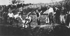 Ustasa militia execute prisoners near the Jasenovac concentration camp.