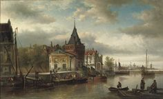 The Prins Hendrikkade by the Schreierstoren, Amsterdam - Elias Pieter van Bommel