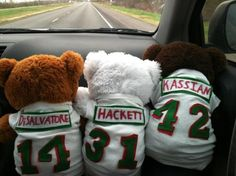I love my crazy hockey fan friend!  She made these awesome bears.