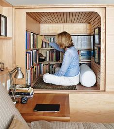 This tiny reading nook is a great addition to a cozy home.