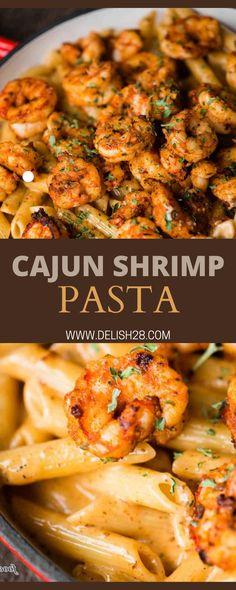 Shrimp Recipes For Dinner, Shrimp Recipes Easy, Seafood Recipes, Cooking Recipes, Meals With Shrimp, Simple Dinner Recipes, Easy Dinner For 2, Cajun Shrimp Pasta, Healthy Shrimp Pasta