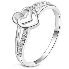 Women's Fashion Heart Crystal Diamond Engagement Wedding Cz Band Eternity Cubic Zirconia Ring Silver - Jewelry For Her
