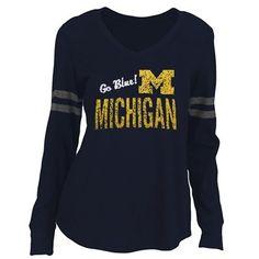 Michigan Wolverines Ladies Stripe Football Long Sleeve T-Shirt - Navy Blue