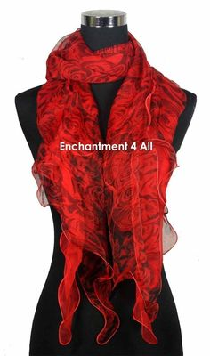 Sexy Double Layer Handmade Crinkled 100% Silk Scarf Wrap Rose Pattern, Red/Black