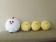 4 pillows - 1 Hen and 3 Chicks. $110.00, via Etsy.