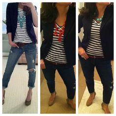 striped t, statement necklace, black blazer, distressed jeans, and suede wedges