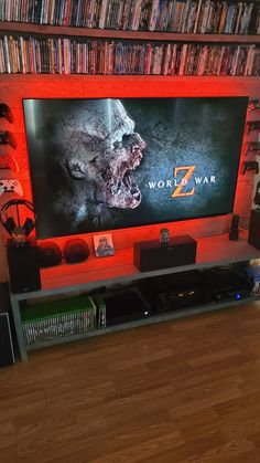 I found this simple setup with aggressive red background with RGB lights .Very Elegant ! very attractive ! Room Color Design, Game Room Design, Nerd Room, Gamer Room, Game Room Kids, Gaming Room Setup, Gaming Rooms, Bedroom Setup, Video Game Rooms