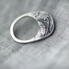 ring, floral cast silver & gemstones ~ minicyn
