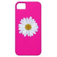 Girly White Gerber Daisy on Hot Pink iPhone 5 Case