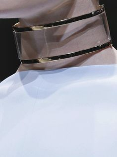Transparent Collar with glossy gold trim - chic minimal statement jewellery; runway jewelry // Givenchy