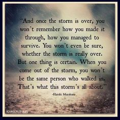 """And once the storm is over, you won't remember how you made it through, how you managed to survive. You won't even be sure, whether the storm is really over. But one thing is certain. When you come out of the storm, you won't be the same person who walked in. That's what this storm's all about."" ~ Haruki Murakami"