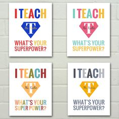 *I TEACH What's Your Superpower  Teacher by SprinkledJoy on Etsy, $14.95