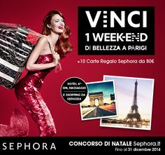 Vinci 1 week end di bellezza a Parigi e tante Carte Regalo Sephora : http://www.gioco-sephora.it/?prov=pinterest