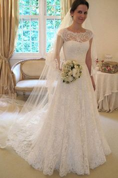 Cap Sleeve Lace A line Wedding Dresses, 2017 Long Custom Wedding Gowns – SposaDesses