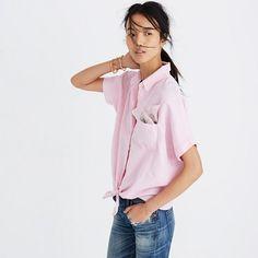 Madewell+-+Short-Sleeve+Tie-Front+Top+in+Paris+Pink