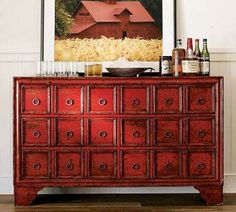 I want to do this finish to an antique buffet I just bought and use it for an entertainment center. Red Painted Furniture, Painted Buffet, Paint Furniture, Furniture Makeover, Asian Furniture, Chinese Furniture, Japanese Furniture, Modern Buffet, Antique Buffet