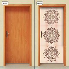 Compre Adesivo de Porta - 444mlpt no Elo7 por R$ 69,00   Encontre mais produtos de Adesivos de Parede e Decoração parcelando em até 12 vezes   Adesivo Decorativo de Porta - Mandalas - 444mlpt  Renove seu ambiente com o adesivo de porta da Letto*, muito prático, rápido e sem sujeira.  Prod..., 64CBD6 Painted Doors, Wood Doors, Chakras, Door Wall, Decoration, Diy And Crafts, Wall Decor, Wallpaper, Drawings