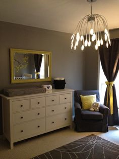Boy/girl twin nursery. Grey, yellow, and white.