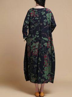 """【Fabric】  Cotton, linen 【Color】 Dark blue, Lake Blue 【Size】 Shoulder 37cm / 14 """"  Bust 108cm / 42 """"  Waist 110cm / 43 """" Sleeve 44cm / 17 """"  Length 114cm / 44 """"  Hem 180... #gown #robe"""