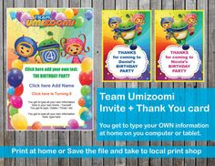 Team Umizoomi birthday Invite / Invitation and Thank You Cards Thank You Tags, Birthday Party Invitations, Invites, Letter Size Paper, Treat Bags, 3rd Birthday, Handmade Gifts, Cards, Etsy