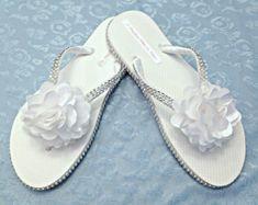 a9cc1bbbe4fd Bridal White Flip Flops - Wedding Flip Flops - Rhinestone Flip Flops - Bridal  Sandals -