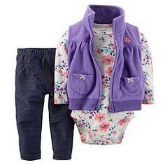 Baby Girl Carter's Floral Floral Microfleece Vest Set
