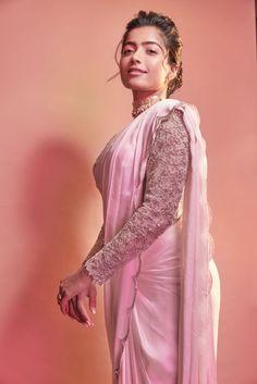 Rashmika Mandanna photoshoot stills in pink saree - South Indian Actress Beautiful Girl Photo, Beautiful Girl Indian, Wonderful Picture, Beautiful Women, Sari Rose, Traditional Blouse Designs, Sarees For Girls, Glam Photoshoot, Most Beautiful Bollywood Actress