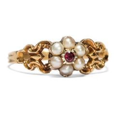 Georgian Taste - Niedlicher Gold-Ring mit Granat & Perlen, England um 1820