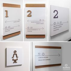 Panneaux PVC ou aluminium dans lesquels un chiffre ou un pictogramme en relief bois ont été imbriqué. Directional Signage, Wayfinding Signs, Office Signage, Retail Signage, Environmental Graphic Design, Environmental Graphics, Directory Signs, Sign System, Exterior Signage