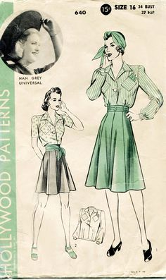 1940s Blouse and Skirt Pattern Vintage
