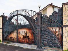 Entrance gate design for home House Main Gates Design, Door Gate Design, House Design, Metal Gates, Wrought Iron Gates, Front Gates, Entrance Gates, Front Doors, Tor Design