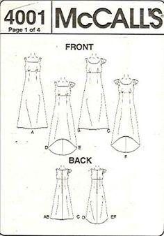 Amazon.com: McCall's 4001 Sewing Pattern Womens Dress Empire Waist Size 8 - 10 - 12 - 14: Home & Kitchen