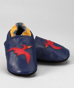 Navy & Red Pterodactyl Leather Booties by Augusta Baby #zulily #zulilyfinds