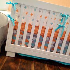 AQUA, ORANGE & GREY Geometric Unisex Crib Bedding Set, DK LEIGH, 100% Cotton in Baby, Nursery Bedding, Nursery Bedding Sets | eBay