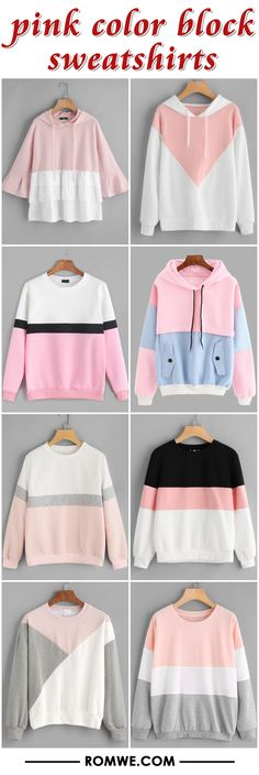 pink color block sweatshirts from romwe.com