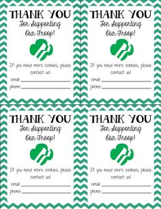 FREE Printable! Girl Scout Cookie Thank You cards