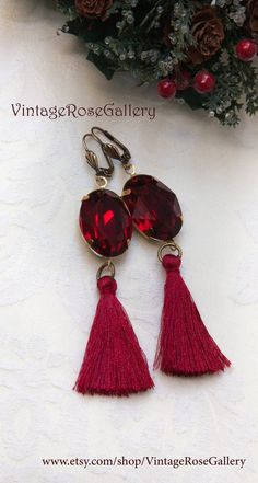 Red Tassel Earring, Red Christmas Earrings, Red Tassel Earrings, Boho Chic Earrings by VintageRoseGallery Etsy Jewelry, Handmade Jewelry, Unique Jewelry, Handmade Gifts, Handmade Items, Angel Wing Earrings, Christmas Earrings, Vintage Roses, Tassel Earrings