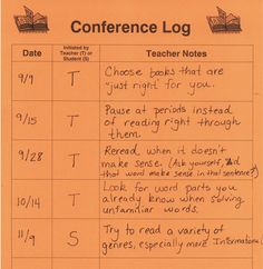 This is a great way to keep up with quick student check in conferences. Your students could also keep their own.