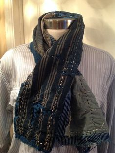 Handmade Japanese boro scarf made from collected boro material, kimonos, and various other antique Japanese textiles. Hand wash only & hang