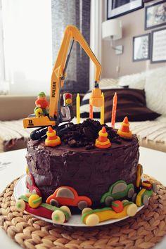 4th Birthday, Construction Cake, Excavator, Marzipan Race Cars, Marzipan Construction Cones, Pile of Dirt from Oreo Crumb