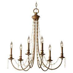 "Aura Collection 6-Light 26"" Rustic Silver Chandelier F2712/6RUS This Aura Collection chandelier features a rustic silver finish. SALE #greenmonday #kitchenlighting #homedecor #design #homedecorations #lighting #lights #crystal #swarovski"