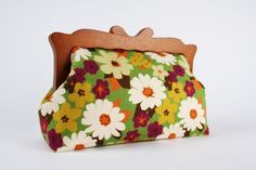 Home pouch  Retro flowers in green and purple  wooden by octopurse, $73.30