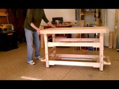 Workbench with Drop Caster Wheels - YouTube