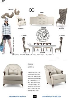 Morzine The contoured curves of this occasional chair are gorgeously supplemented by the mahogany arm details and lavish upholstery, reflecting Coco Chanel's inimitable elegance and style. Christopher Guy, Occasional Chairs, Upholstery, Curves, Arm, Interiors, Contemporary, Elegant, House