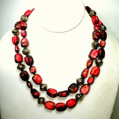 2 Strand Gold and Raspberry Red Bead Necklace, 1960s Hong Kong Mid Century Splatter w Geometric Bead Caps, Artsy Mad Men Era  PRETTY, PRETTY BEADS>>>>>>> The Necklace has 16 and 18 long bead strands ( 40.64cm and 45.72cm ) The catch is 7/8 wide ( 2.34cm ) and reads HONG KONG on the back  This lovely gold w red and black splatter beads necklace has been in my storage forever and has not been used since I got it. It is gift worthy, no damages gold is all very shiny, so it looks fantastic…