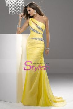 2013 One Shoulder Mermaid Court Train Chiffon Prom Dresses