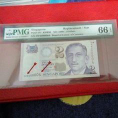 Singapore Portrait $2 Dollars Replacement Low No 0WW 000004 Pmg 66 Epq Gem Unc, Vintage & Antiques, Currency on Carousell