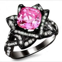 Cushion Cut Created Pink Sapphire Rhodium Plated Lotus Flower Ring