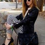 Beyaz , Siyah çizgili, Jean tarzı Tayt Modeli